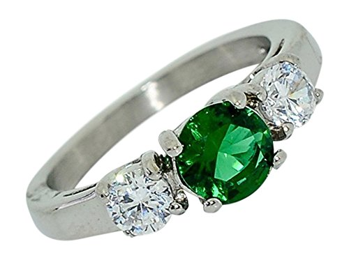 Birthstone Ring~May~Stainless Steel~3 Stone~Cubic Zirconia CZ~Emerald~Green Crystal~Mother's Ring~Fashion Ring~Women's Jewelry (8)