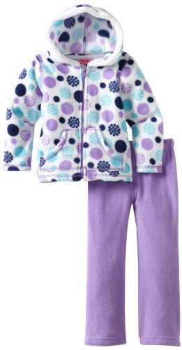 Young Hearts Little Girls' 2 Piece Polka Dot Polar Fleece Set