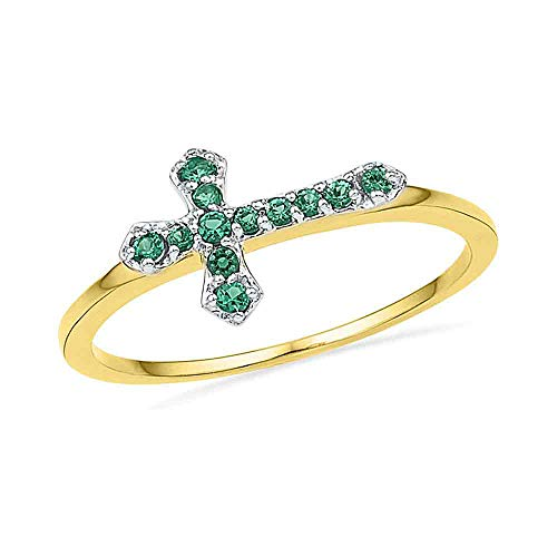 - 10kt Yellow Gold Womens Round Lab-Created Emerald Christian Cross Band Ring 1/8 Cttw