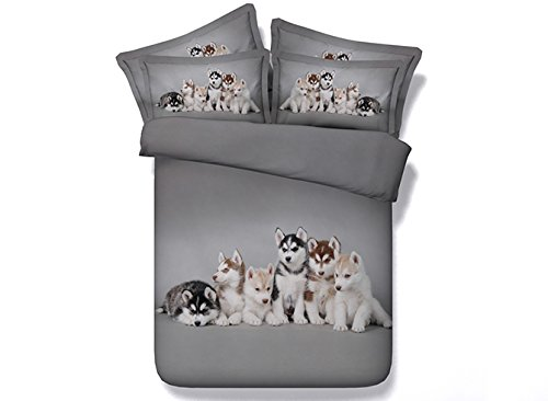 Ammybeddings Soft Grey Duvet Covers King with 1 Bed Sheet and 2 Pillow Shams Bedding Sets,4 PCS Design Adorable Puppies Comforter Cover Sets King,Unique Modern Luxury Bedroom Sets by Ammybeddings (Image #1)