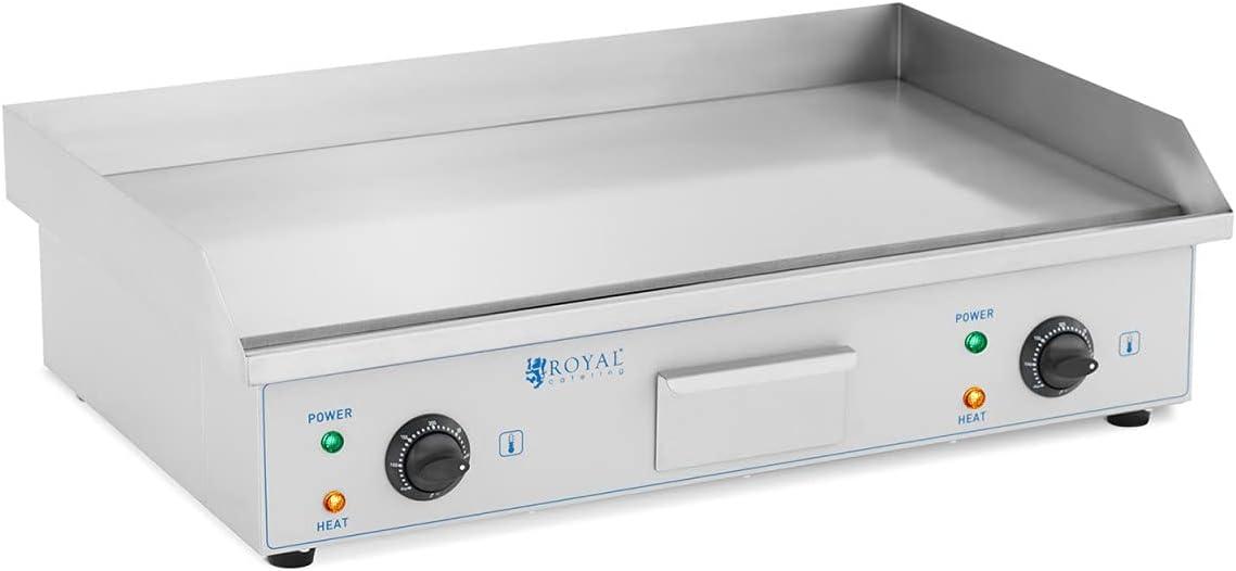 Royal Catering Plancha Eléctrica Fry-Top para Cocina Parrilla Profesional RC-EG73 (Placa: 730 x 400 mm,Potencia: 2 x 2.200 W, Antisalpique)