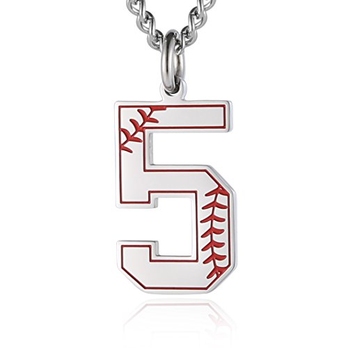 - HZMAN Baseball Initial Pendant Necklace Inspiration Baseball Jersey Number 0-9 Charms Stainless Steel Necklace (5 - Silver)