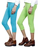 Indistar Big Girl's Cotton Capri Combo-2 Large Blue::Green