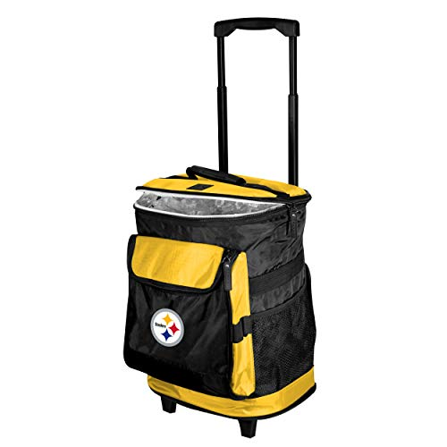 Logo Brands Pittsburgh Steelers 48-Can Rolling Cooler with Wheels and Backpack Straps
