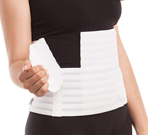 """GABRIALLA Women's Breathable Abdominal/Back Support Binder AB-309: White , Small Up to 34"""" 3"""