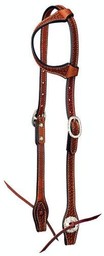 (Tough-1 Leather Single Ear Headstall - Basket Stamp with Silver Hardware)