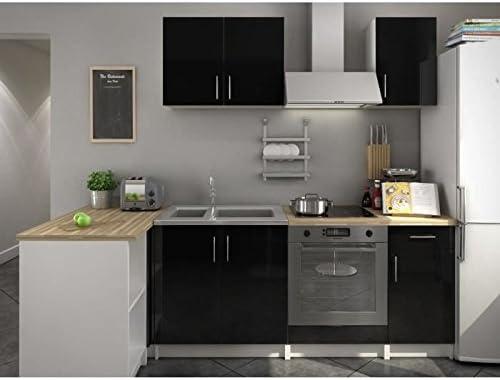 Soul Cuisine Complete 220 Cm Laquee Noire Amazon Fr Cuisine Maison