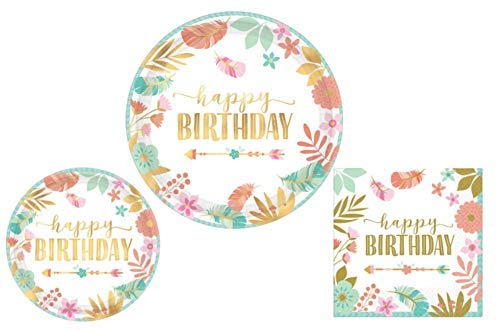 Arrow Plates - Boho Birthday Girl Party Supplies - Bundle Includes Dinner Plates, Dessert Plates, and Napkins for 8 Guests in a Bohemian, Tribal Design