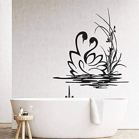 zzlfn3lv Pareja de cisnes Etiqueta de la Pared Bathrrom decoración ...