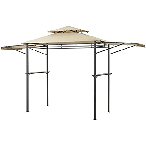 Mainstays Grill Gazebo Party Canopy with Adjustable Awning, Light Brown (First Up Screen Curtain)