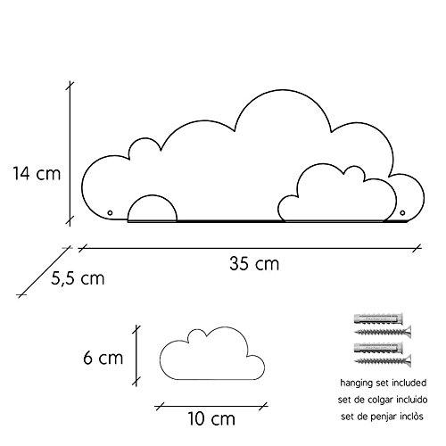 Metal 37x24x7 cm Tresxics Estanter/ía Nubes Mint