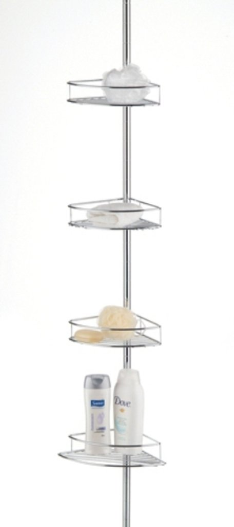 Taymor Corner Shower Basket Tower With Tension Pole, Chrome 02-D1079