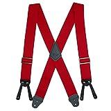 CTM Men's Big & Tall Elastic Basic Work Suspender, Red