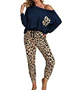 ROSKIKI Womens 2 Pieces Tie Dye Pajamas Set Sweatpants Sets Long Sleeve Pullover with Long Pants ...