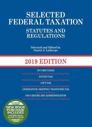 Pdf Law Selected Federal Taxation Statutes and Regulations, 2019 (Selected Statutes)