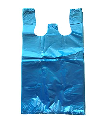 RG Large Plastic Grocery T-shirts Carry-out Bag Blue Unprinted 12 X 6 X 21 (100) -