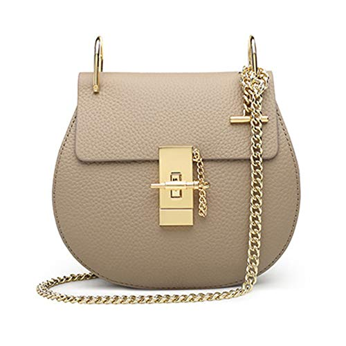Normia Rita Punk Style U-Ring Flap Bag Chain Bag Crossbody Envelope Bag Clutch Mini Bags For Girls - Beige (Leather Detail Satchel Flap Bag)