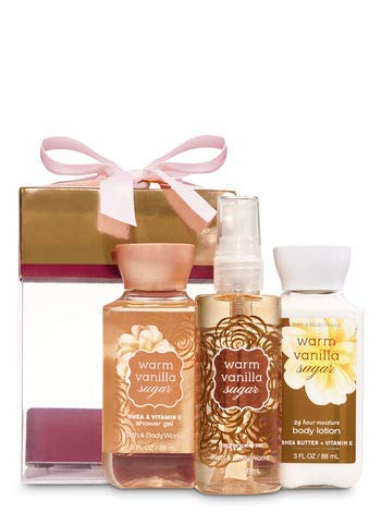 Bath & Body Works Warm Vanilla Sugar Mini Box Gift Set | Shower Gel, Body Lotion & Fragrance Mist