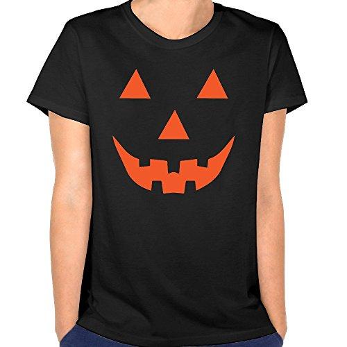 Just Tinge Women's Fun Halloween Costume Pumpkin Jack O Lantern 2016 Short Sleeves T-shirt S Black