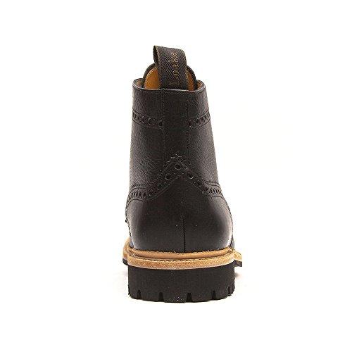LOAKE Leder Stiefel FISHER Schuh Brogue Boot Goodyear Welted Rahmengenäht Budapester schwarz Schwarz