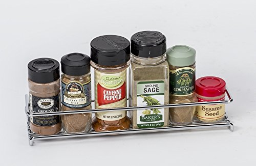 Set of 4 Chrome Wall-Mount Spice Racks – Single Tier Hanging Organizers for Pantry - Over Stove, Kitchen Cupboard and Closet Door Storage – by Unum – 11 3/8
