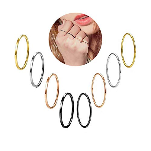 Fsmall 8 Pcs Multi-Color Titanium Steel Stackable Rings for Women Girls Thin Flated/Domed Plain Band Knuckle Stacking Midi Rings Comfort Fit (8) by Fsmall