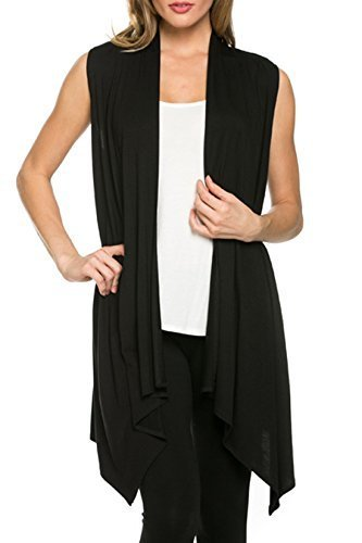 Women's Solid Color Sleeveless Asymetric Hem Open Front Cardigan (Black, (Womens Black Sweater Vest)