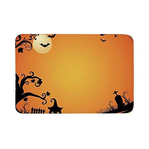 C COABALLA Vintage Halloween Durable Door Mat,Halloween Themed Image Eerie Atmosphere Gravestone Evil Pumpkin Moon Decorative for Living Room,15.7