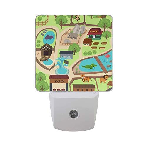 Potter Park Zoo Halloween (2 Pack 0.5W Plug-in LED Night Light Lamp with Dusk to Dawn Sensor,Kids, Adult, Bedroom, Hallway, Bathroom, Kitchen, Stairways, Corridor, or Any Dark Room - Map of Zoo)