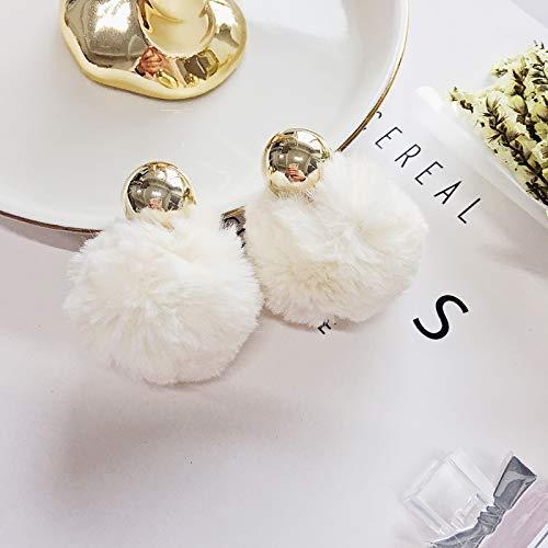 Rabbit Chandelier - Wonderful Warm Rabbit Fur Pompon Decorative Beauty Color Sorting Innovative Double-Sided Earrings Earring Dangler Eardrop (d-White Fur Ball