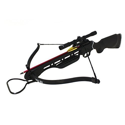 150lbs Black Hunting Crossbow with Scope, 8 x Arrows and Rope Cocking - Crossbow Mk