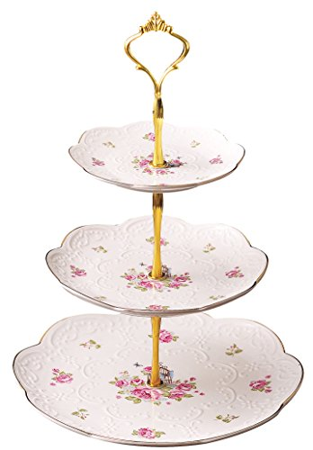 Jusalpha Elegant Embossed 3-tier Ceramic Cake Stand- Cupcake Stand- Tea Party Pastry Serving platter in Gift Box (FL-Stand 03) (3 Tier) by Jusalpha