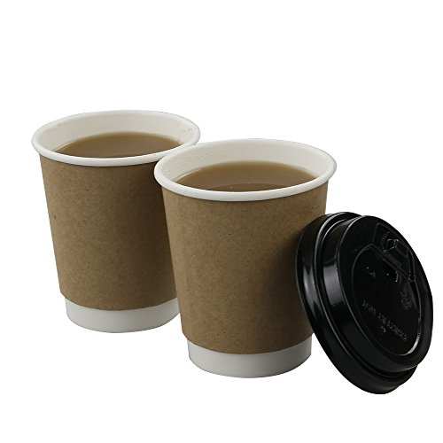 HOMMP 8 Oz Disposable Hot Coffee Paper Cups with Lids and Cup Sleeves, 100 Count/ Box (Paper Coffee Cups 8 Oz Lids compare prices)