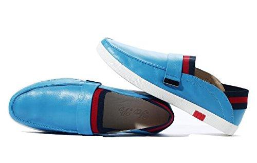 Happyshop (tm) Hommes Slip En Cuir Sur Penny Loafer Voiture Chaussures Business Chaussures Bleu