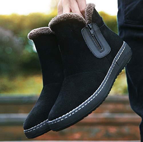 Al Caliente Invierno Botas Black Zapatos De Piel Antideslizante Libre Zapatillas Completamente Tobillo Forrado Hombres Nieve Aire Hylff Cortas qw16xF1X