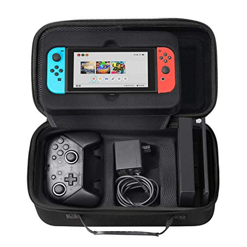 [Fit Extra Switch Pro Controller] SHareconn Travel Case Compatible with Nintendo Switch, Portable Cuboid Carrying Case with Soft Lining Pouch for Nintendo Switch Console Games all Accessories, Black