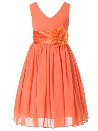 Bow Dream Flower Girl Dress Junior Bridesmaids V-Neckline Chiffon Orange 12