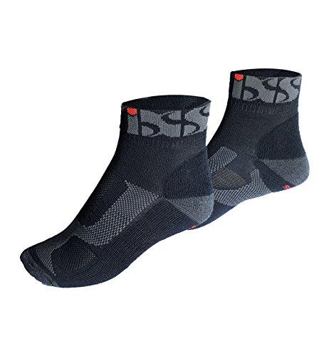 IXS Sports Short Socks (Black/Grey/Red, Large/Size US 8-9/Size EU 41/42)