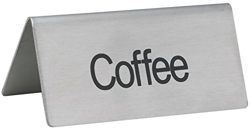 LeRose Stainless Steel Tent Signs ~ Set of 5 ~''Coffee'',''Decaf'', Hot Water'',''Hot Tea'',''Iced Tea'' ~ 3'' x 1-1/2'' Beverage Table Display Tent Signs by LeRose (Image #3)