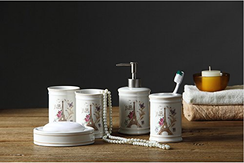 brandream luxury paris eiffel tower bathroom accessories 5 piece ceramic bathroom set - Bathroom Accessories Dubai
