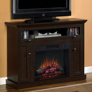 Windsor Oak Espresso Infrared Electric Fireplace Media Cabinet - 23DE9047-PE91