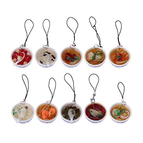 Keychain Porcelain - Kofun Keychain, Chinese Blue and White Porcelain Bowl Mini Simulation Food Noodles Key Chain Toy A