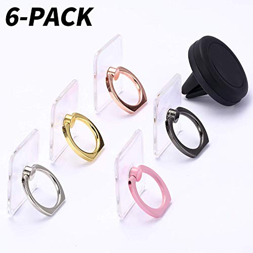 Rngeo Finger Ring Stand & Magnetic Mount, Pack of 6 Universal 360 Degree Rotation Acrylic Rings & Air Vent Phone Holder for Car, Compatible with All Smartphones (Rose Gold, Gold, Silver, Black & Pink)