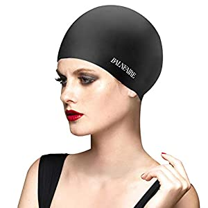 BALNEAIRE Silicone Swim Cap for Women, Waterproof UV Protection Long Hair Swimming Caps