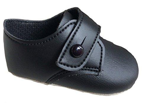 Bebé Niños botón cierre zapatos en blanco o negro o azul fabricado en el Reino Unido Black patent Talla:6-12 meses Black Mat