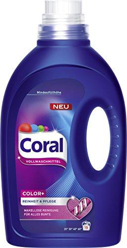 Coral Color+ flüssig Vollwaschmittel, 1er Pack (1 x 16 WL)
