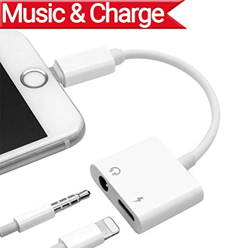 2 in 1 Lighting Audio +Charger Adapter Phone X Phone 8/8Plus Phone 7/7Plus Headset Earphone.Headphone 3.5mm AUX Audio Splitter Charger Adaptor Wire Control.Compatible iOS 11.4 Later-White by Ambrrhty