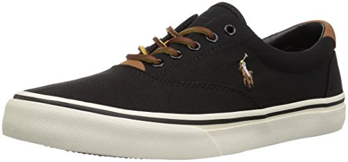 Polo Ralph Lauren Men's Thorton Sneaker, Black, 8 D US (Us Polo By Ralph Lauren)
