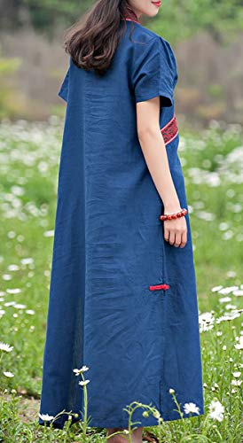 Retro Q32220 girl Feiertagskleid Maxi Damen Party Kleid Kleider Baumwolle Leinen Kurzarm E Cocktail Blau Lose S1tf4cS