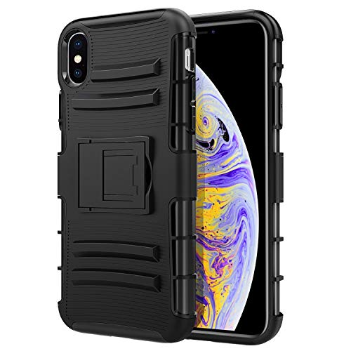 MoKo Compatible with iPhone Xs Max Case, Shock Absorbing Hard Cover Protective Heavy Duty Case with Built-in Kickstand + Holster Belt Clip Compatible with Apple iPhone Xs Max 6.5 inch 2018 - Black